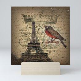 I love Paris Shabby chic Robin French Scripts Jubilee Crown Vintage Paris Eiffel Tower Mini Art Print