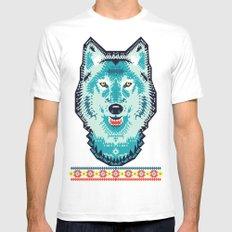 Geometric Wolf  White Mens Fitted Tee MEDIUM