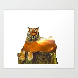 Tiger Double Exposure Art Print
