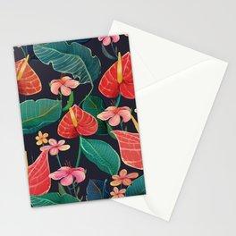 Botanical Flowers at Night Stationery Cards