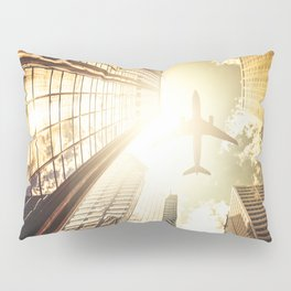 airplane in new york city Pillow Sham