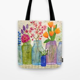 Springs Flowers in Old Jars Tote Bag