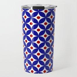 Bright blue, red and white elegant tile ornament pattern Travel Mug