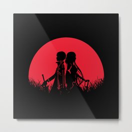 SAO Red Moon Kirito Asuna Metal Print