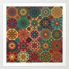Vintage patchwork with floral mandala elements Art Print