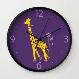 Funny Giraffe Roller Skating Wall Clock