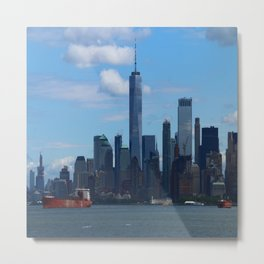 Manhattan View And Hudson River Metal Print