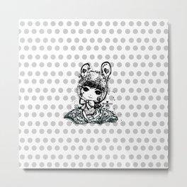 girl art - cute bunny girl Metal Print
