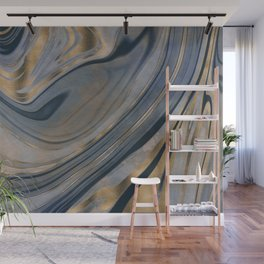 Shiny Marble Gemstone Blue Copper Wall Mural