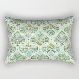 Jade Enamel Art Deco Fans Rectangular Pillow