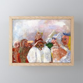 Masks Mocking Death portrait painting by James Ensor Framed Mini Art Print