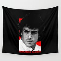 mercedes Wall Tapestries featuring Formula One - Fernando Alonso by Vehicle