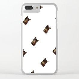 Polka Cat Sideways Animated Clear iPhone Case