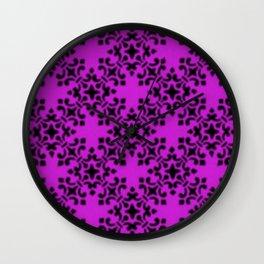 Vintage Brocade Damask Dazzling Violet Wall Clock