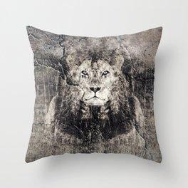 Lion Stone Throw Pillow