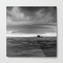 Courage - Supercell Thunderstorm Over Abandoned House in Colorado in Black and White Metal Print