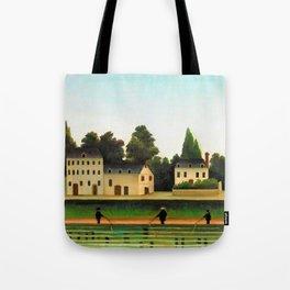 12,000pixel-500dpi - Henri Rousseau - Landscape and Four Fisherman - Digital Remastered Edition Tote Bag