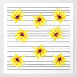 Yellow Daises on Minimal Black and White Stripes Art Print