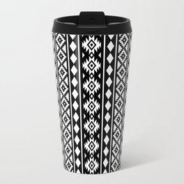 Aztec Essence Pattern II White on Black Travel Mug