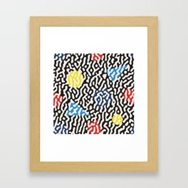 Retro Jumble Black and White Drips And Color Polygons Pattern Abstract Seamless Background Framed Art Print
