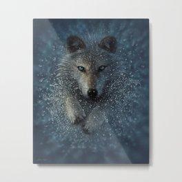 Wolf Splash Metal Print