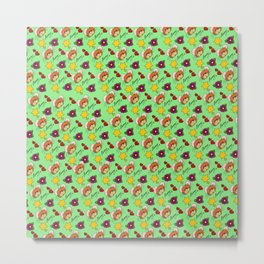 Hammy Pattern in Pale Green Metal Print