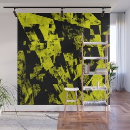 Fractured Warning - Black and yellow, abstract, textured painting Wall Mural
