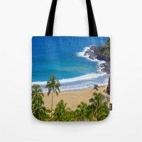 hawaiian Tote Bags featuring Hawaiian beach by Ricarda Balistreri