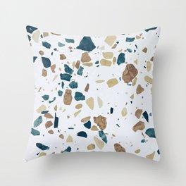 TERRAZZO ABSTRACT BLUE YELLOW ORANGE Throw Pillow