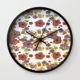 Multicolored Floral Collage Print Wall Clock