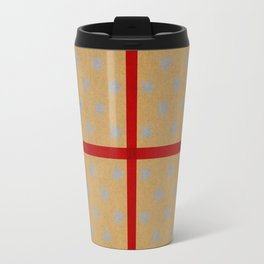 Present wrapped in gold paper and red ribbon Travel Mug