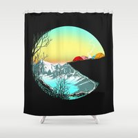 camp Shower Curtains featuring Pac camp by carbine
