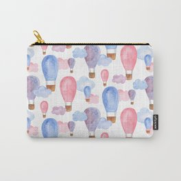 Watercolor air balloon. Pink and blue baby pattern. Nursery illustration. Kids art Carry-All Pouch