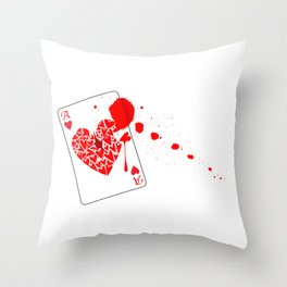 Ace of Hearts With Blood Throw Pillow