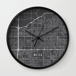 Mesa Map, Arizona USA - Charcoal Portrait Wall Clock