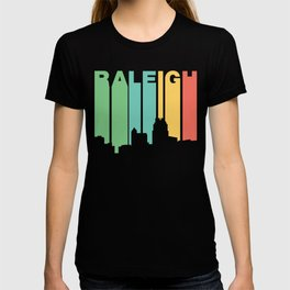 Retro 1970's Style Raleigh North Carolina Skyline T-shirt
