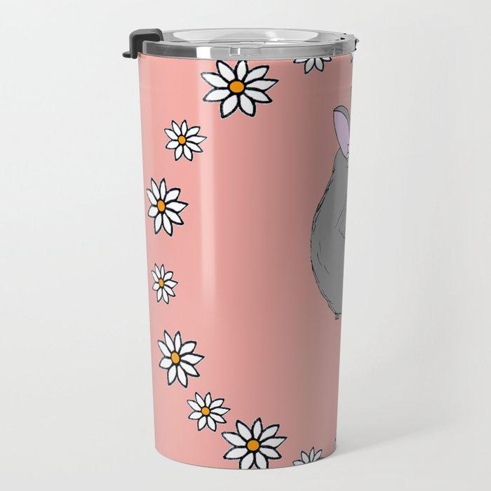 Daisy Chinchilla Flower Crown Border Travel Mug