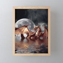 Mystical Dragon and Moon Fantasy Design Framed Mini Art Print