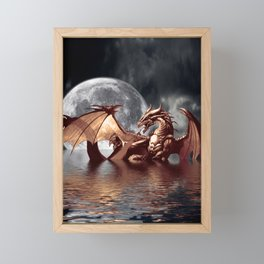 Mystical Dragon and Moon Fantasy Design Framed Mini Art Print