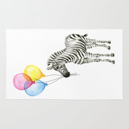 Zebra with Balloons Watercolor Baby Animals Rug