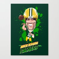 packers Canvas Prints featuring Aaron Rodgers by Greene Graphics