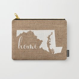 Maryland is Home - White on Burlap Carry-All Pouch