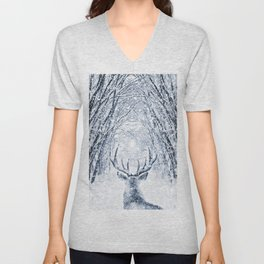 Winter deer Unisex V-Neck
