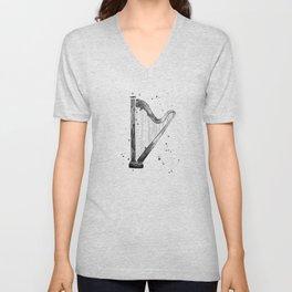Harp, black and white Unisex V-Neck
