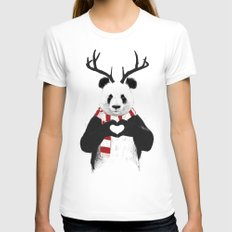 Xmas panda Womens Fitted Tee X-LARGE White