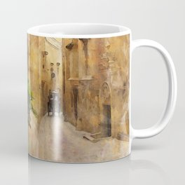 Medieval Narrow Street Tall Buildings Coach Watercolor Coffee Mug