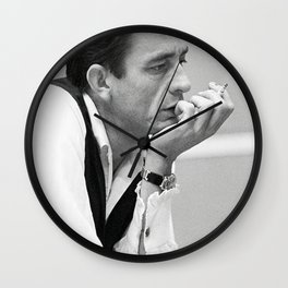 Johnny Cash Smoking, Music Print, Country Legend, Vintage photography, gift for him, Johnny Cash print, Johnny Cash poster, Johnny Cash art Wall Clock