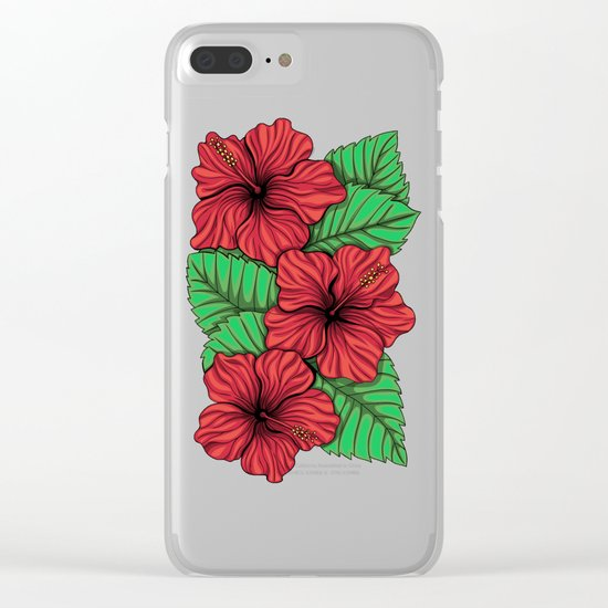 Bouquet of hibiscus flower and tropical leaves Clear iPhone Case