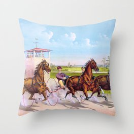 Trotting for a great stake - Digital Remastered Edition Throw Pillow