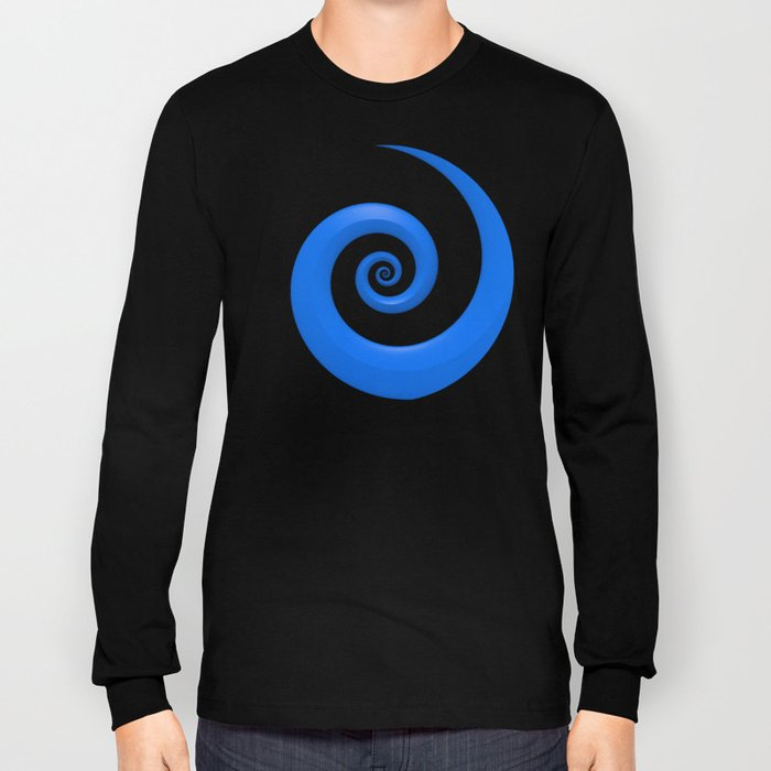 Curl, Blue Long Sleeve T-shirt